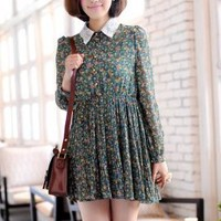 Dollhouse Whimsy Long Sleeve Floral Dress in Forest Green | Sincerely Sweet Boutique
