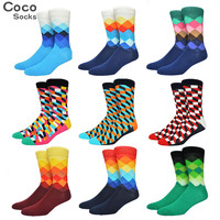 Mens Tide Brand Happy Socks Colorful Gradient Diamond Summer Style Combed Cotton Sox Men Harajuku Casual Business Socks Male 88w