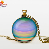 JUPITER Jewelry  Jupiter necklace  planet necklace galaxy Universe Necklace  Space universe  Art Gifts for Her for men for him and