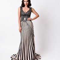 1930s Style Black & Nude Stripe Sexy Fitted Long Dress 2016 Prom Dresses