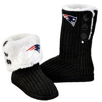 New England Patriots Official NFL Ladies Knit High End Button Boot Slippers