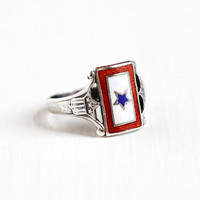 Vintage Sterling Silver Blue Star Service Flag Ring - Size 4 1/2 WWII Historical 1940s Son in Service Red White Blue War Memorabilia Jewelry
