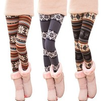 Fashion Stripe With Snowflake Leggings