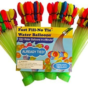 Magic Fast Fill No Tie Water Balloons (4 Pack) - Fill and Tie 148 Water Balloons in Minutes - Easy Filling and Self Sealing for Summer Games and Fun - Hose Attachment Filler and Balloons All in One