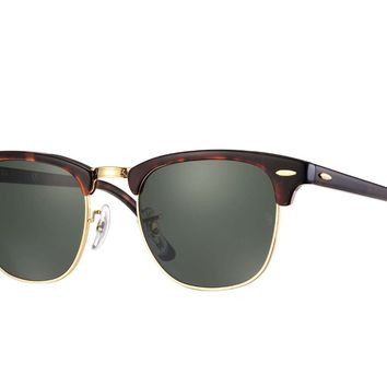 Ray Ban Sunglasses Clubmaster RB3016 W0366 Tortoise Gold Frames Green Lens 49mm