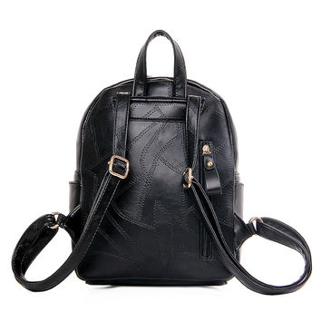 Comfort On Sale Casual Back To School Hot Deal College Embroidery Patchwork Korean Stylish Rivet Backpack [8384134471]