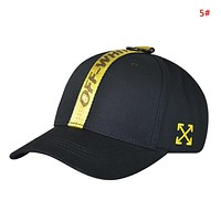 Off White New fashion embroidery letter arrow camouflage couple cap hat 5#
