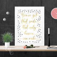 Wall art decor Justin Bieber quote, typography giclée print