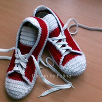 """Crochet Mens Womens Slippers, house knits shoes, """"converse"""" style - 10 colours to choose from - Made to Order - 3-5 Days"""