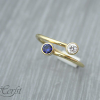 Birthstone Ring, 14K solid yellow gold, Personalized ring, Birthstones