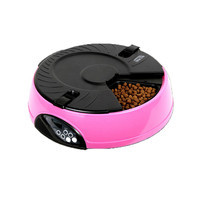 6 Meal Timed Auto Pet Feeder Dog Cat Digital Display Time-lapse Automatic Tray Pink