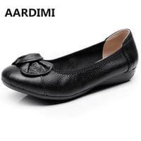 HOT Plus Size 35-43 Genuine leather shoes flats women loafers fashion bowtie causal ballet flat shoes women chaussure femme