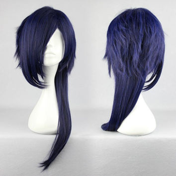 Cool Mens Haircut Cosplay Manga DRAMAtical Murder DMMD Koujaku Wig Blue Black Mixed Synthetic,Colorful Candy Colored synthetic Hair Extension Hair piece 1pcs WIG-271D
