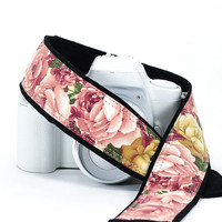 Roses dSLR Camera Strap with Pocket, Heirloom Vintage Pink and Gold Roses, Camera Neck Strap, Canon Nikon Replacement Strap,  SLR, 41