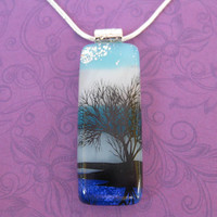 Black Tree Necklace, Landscape Necklace, Handmade Jewelry, Gift for Her, Botanical Jewelry - Elsa - 4703 -4