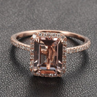 Morganite with Diamonds Engagement Ring in 14K Rose Gold,6x8mm Emerald Cut Morganite,   White/Yellow Gold Available,Wedding Promise Ring