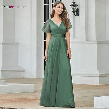 New Elegant Long Bridesmaid Dresses Ever Pretty A-Line V-Neck Short Sleeve Tulle Wedding Party Dress For Woman 2021 Vestidos