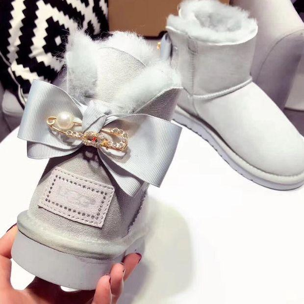 Image of x1love :UGG : girl Large bow tie Keep warm Snow boots