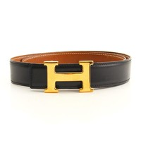 HERMES Constance Belt Leather Black Brown H Buckle Gold tone 65 cm