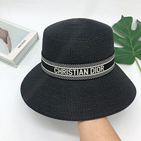 Dior summer bucket hat all-match outing sunscreen straw hat letter sunshade hat cover face fisherman hat