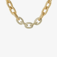 Pave Gemstone Chain Link Necklace