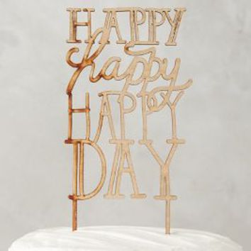 Belle & Union Happy Day Cake Topper in Brown Size: One Size Gifts