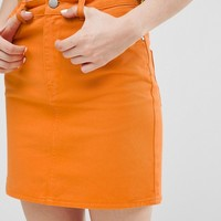 ASOS Denim Original High Waisted Skirt in Orange at asos.com