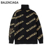 Balenciaga fashion new high collar yellow letter long sleeve warm sweater