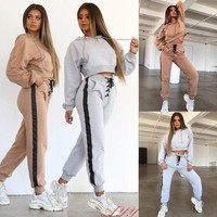 1 Pc Women Tracksuit Long Sleeve Solid Hoodies Sweatshirt Or Long Pants Sets Sport Wear Lounge Suit