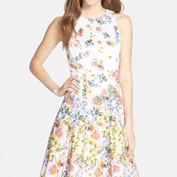 Petite Women's Maggy London Floral Print Sateen Fit & Flare Dress