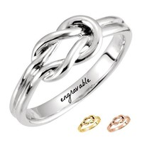 Solid Gold Engravable Infinity Knot Design Ring - White, Yellow or Rose
