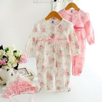 Baby girl romper 100% cotton spring and autumn princess formal dress jumpsuit infant outfit ropa para bebe newborn baby clothes