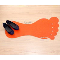Custom doormat. Foot rug silhouette. Modern rug with foot shape. Small size