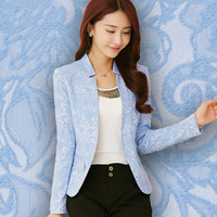 2016 New Spring Clothes Collar Suit Jacket Slim Female Temperament Design Coat Casual Women Work Wear Clothes Candy Color Black