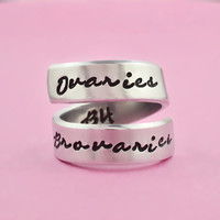 Ovaries Before Brovaries - Hand Stamped Spiral Ring, Leslie Knope Quote Ring, Fans Gift