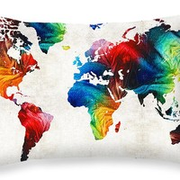 """World Map 19 - Colorful Art By Sharon Cummings Throw Pillow 20"""" x 14"""""""