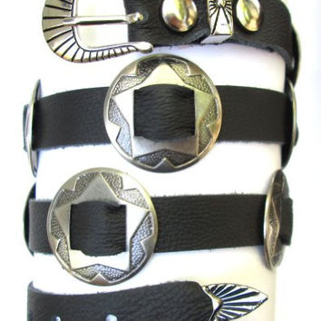 Western Hatband Hat Band Black Leather with 10 Antiqued Conchos NEW