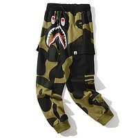 Bape shark camouflage couple trend trousers Green-1
