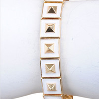 Marshmallow Dipped & Gold Pyramid Stretch Bracelet