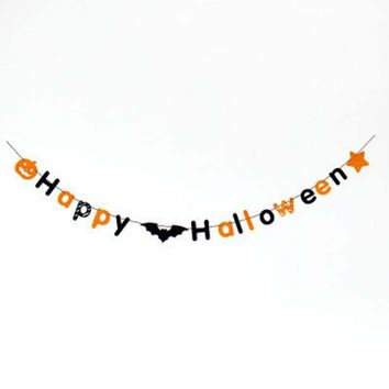 1pcs Happy Halloween Pumpkin Letters Non-woven Lahua Letter Pennant Pumpkin Hanging Pennant Halloween DIY Decoration