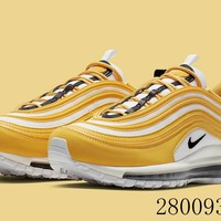 HCXX 19July 970 Nike Wmns Air Max 97 921733-703 Flyknit Breathable Running Shoes Yellow White Black