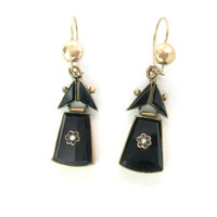 Victorian Earrings. Black Onyx & Seed Pearl Flower Dangles. Hinged Rose Gold Setting, Pierced. Antique 1800s Victorian Mourning Jewelry