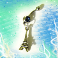 SALE-Belly Ring, Famous Antique Tibetan Silver Eiffel Tower Belly Button Navel Ring, For Her