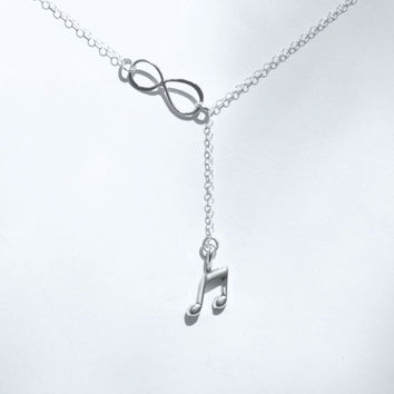 Music Note Necklace, Lariat Necklace, Music Note Jewelry, Sterling Silver Music Note, Infinity Necklace, Sterling Silver Necklace #music