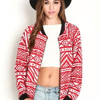 QUILTED TRIBAL PRINT BOMBER JACKET