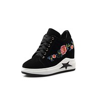 Genuine Leather Embroidery Platform Wedges Sneakers Shoes for Women 2184