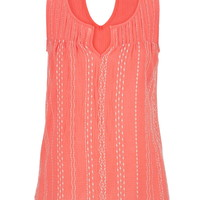 Embroidered Peek-A-Boo Back Swing Tank - Baked Clay