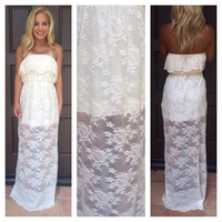 Eternal Strapless Lace Maxi Dress - IVORY