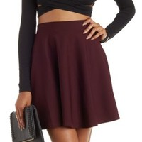 Red Ottoman Knit Skater Skirt by Charlotte Russe