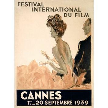 1939 Cannes Film Festival by Artist Jean Gabriel Domergue Wood Sign